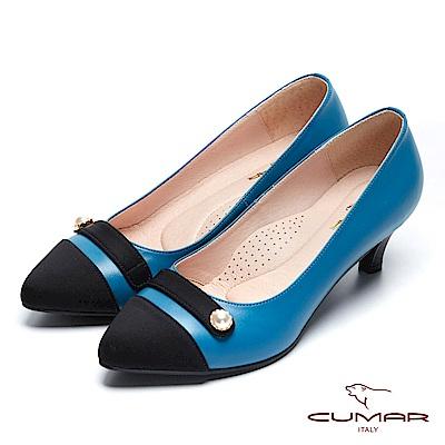 【CUMAR】復古典雅- 異材質拼接珍珠釦點綴尖頭高跟鞋