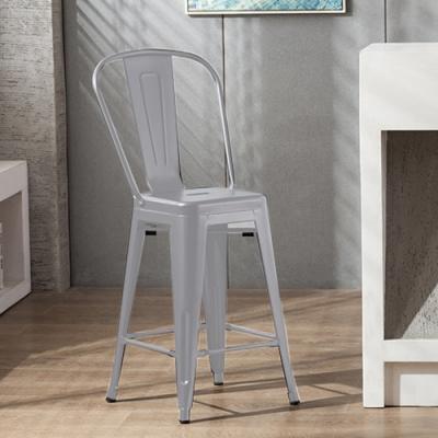 E-home Valen維倫工業風金屬高背吧檯椅 座高66cm 銀色