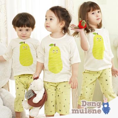 Jota 韓國七分袖家居服-條紋童趣西洋梨