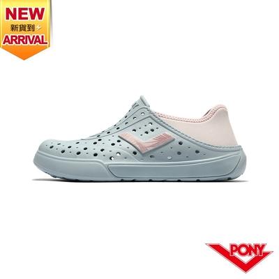 【PONY】ENJOY洞洞鞋 踩後跟 雨鞋 水鞋 中性款-基本色/粉藍