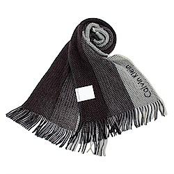Calvin Klein CK 雙色混織刺繡LOGO條紋針織圍巾-深紅灰