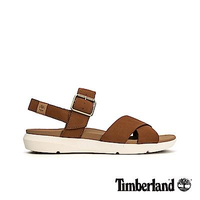 Timberland 女款深咖啡色平底露跟涼鞋|A1TSN