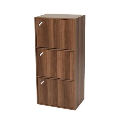 樂嫚妮 三層櫃/附門書櫃/三格櫃/書櫃/置物櫃/收納櫃-深胡桃木色-寬41.8深30高90.1cm