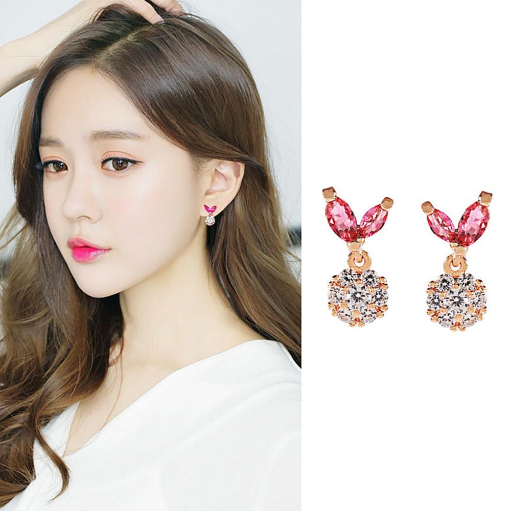 梨花HaNA 無耳洞韓國細緻粉紅水晶愛心花朵耳夾