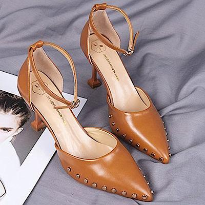 KEITH-WILL時尚鞋館 甜心個性高質感百搭細跟鞋-棕色