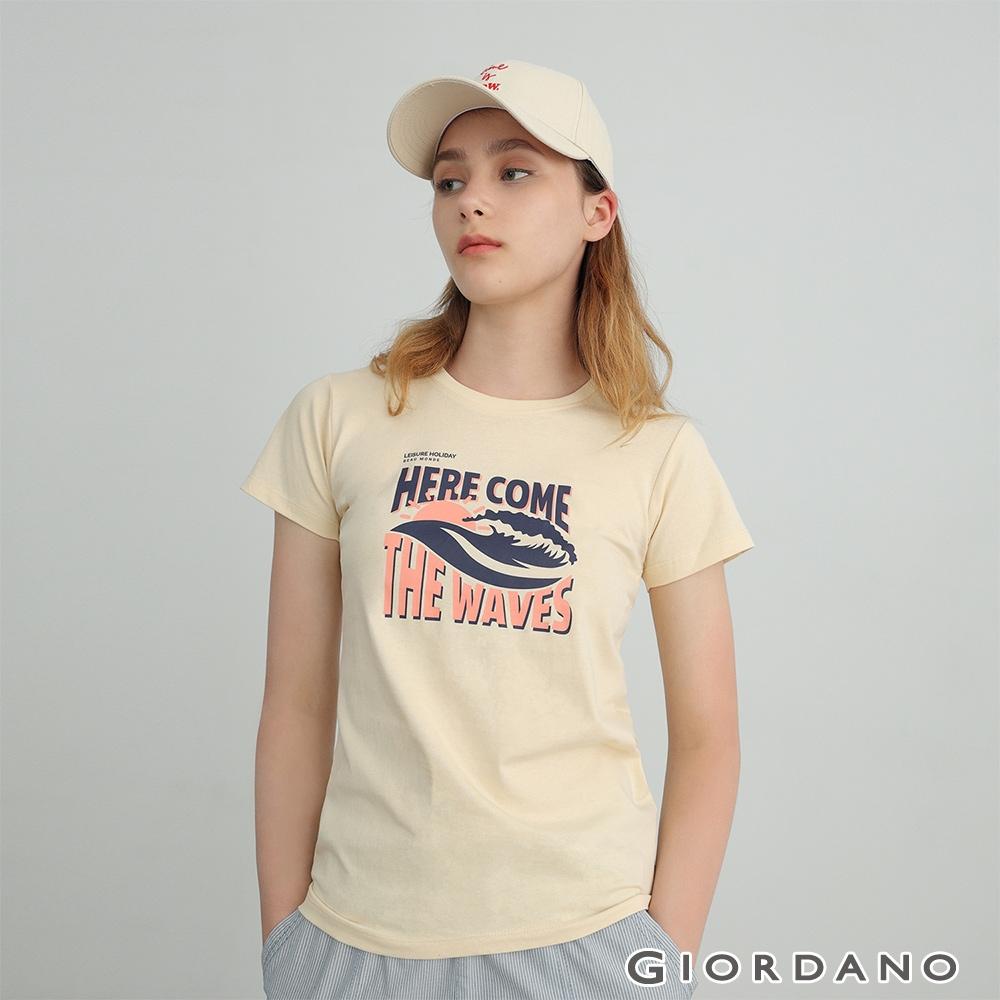 GIORDANO 女裝夏日風情印花T恤 - 06 沙殼卡其