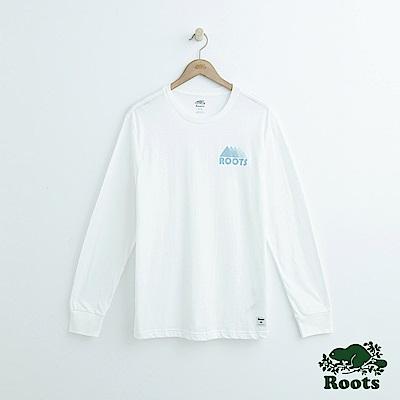 Roots-男裝- 左胸山形長袖T恤-白