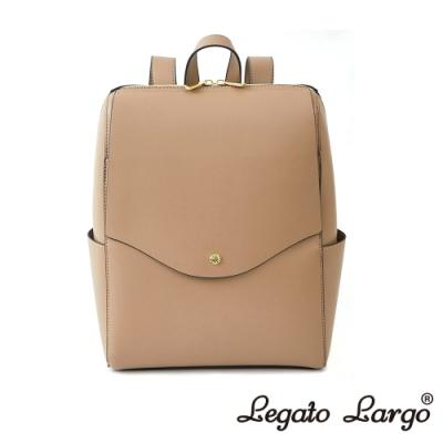 Legato Largo 驚異的輕量化 小法式簡約線條 皮革後背包 杏色