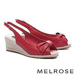 高跟鞋 MELROSE 輕甜蝴蝶結羊皮魚口後繫帶楔型高跟鞋-紅