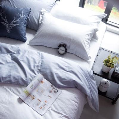 OLIVIA  諾亞 淺灰X灰  標準單人床包美式枕套兩件組 200織精梳純棉