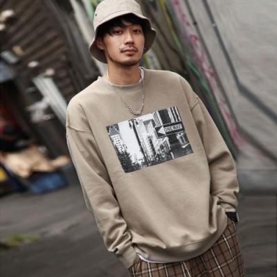 運動衫寬版大學TEE素色LOGO(20色) ZIP日本男裝