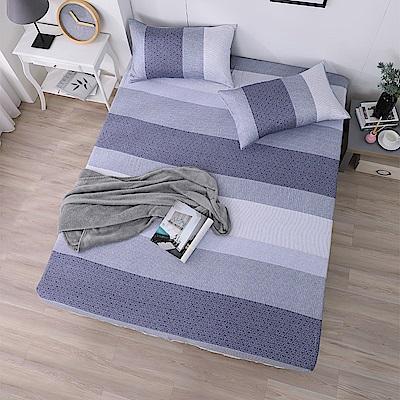 DESMOND岱思夢 單人100%天絲床包枕套二件組 麻趣布洛-藍