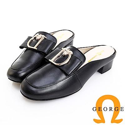 GEORGE 喬治皮鞋 時尚經典 D型飾釦真皮方跟穆勒鞋 -黑