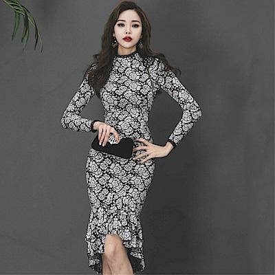 DABI 歐美風復古高領蕾絲魚尾禮服長袖洋裝