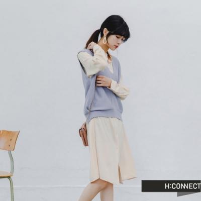 H:CONNECT 韓國品牌 女裝 -兩件式背心襯衫洋裝-藍