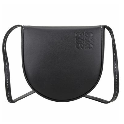 LOEWE Heel 小型 柔軟小牛皮馬鞍型斜背包(黑色)