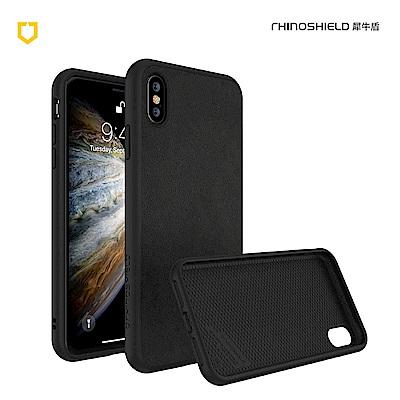犀牛盾iPhone Xs Solidsuit皮革防摔背蓋手機 - 黑色