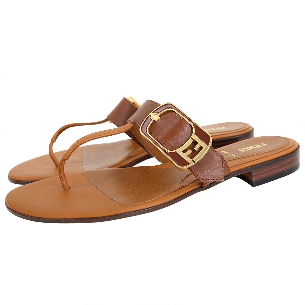 FENDI FF金屬釦牛皮夾腳涼鞋/拖鞋(棕色)