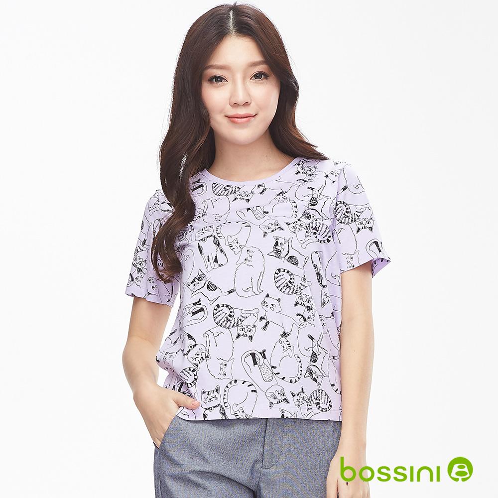 bossini女裝-圓領短袖印花上衣-貓咪淡紫