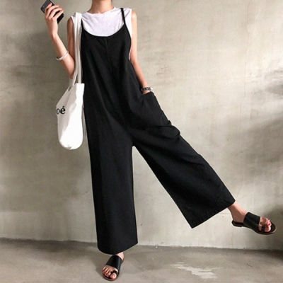 【KISSDIAMOND】休閒度假風大口袋吊帶連體褲(連身褲/吊帶褲/KDP-8026)