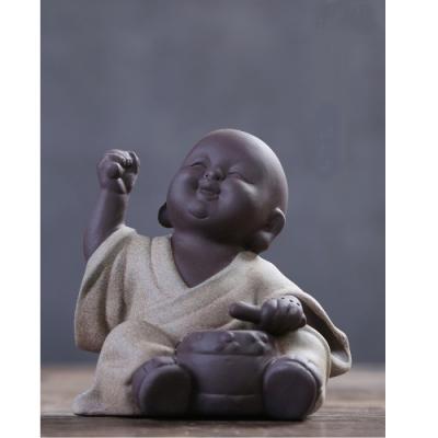 原藝坊紫砂陶瓷 歡欣鼓舞 小沙彌擺飾(鼓小和尚)