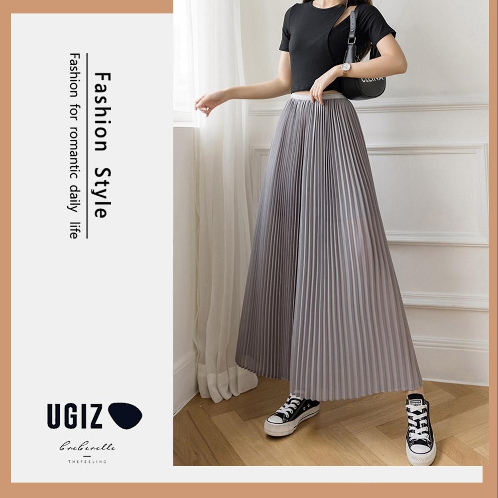 UGIZ-顯瘦高腰鬆緊雪紡百摺闊腿褲裙-4色(S-XL)