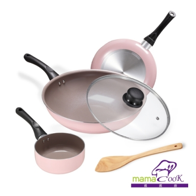 義大利 Mama Cook綻粉陶瓷不沾鍋具5件組(期間限定加贈奶鍋)