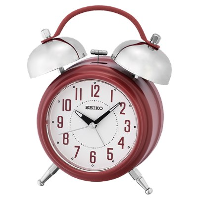 SEIKO 日本精工 滑動式秒針 靜音 響鈴貪睡鬧鐘(QHK051R)-紅/18X14cm