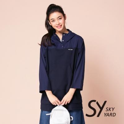 【SKY YARD 天空花園】繡花排釦式長版連帽T恤-深藍
