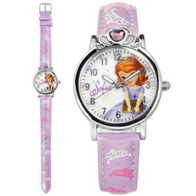 Disney 迪士尼 小公主蘇菲亞 愛心寶石 兒童 卡通 皮革手錶-白x紫/29mm