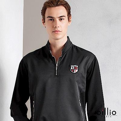 歐洲貴族 oillio 長袖T恤 立領腰間雙口袋 電腦刺繡 黑色