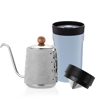 【PO:Selected】丹麥DIY手沖咖啡二件組 (手沖咖啡壺-灰/隨行保溫咖啡杯350ml-藍)