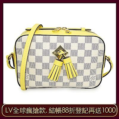 LV N40154 Saintonge 棋盤格皮革流蘇吊飾手提/斜背兩用方包(黃色)