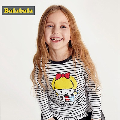 Balabala巴拉巴拉-紅臉女孩兒圖案長袖T恤-女(3色)
