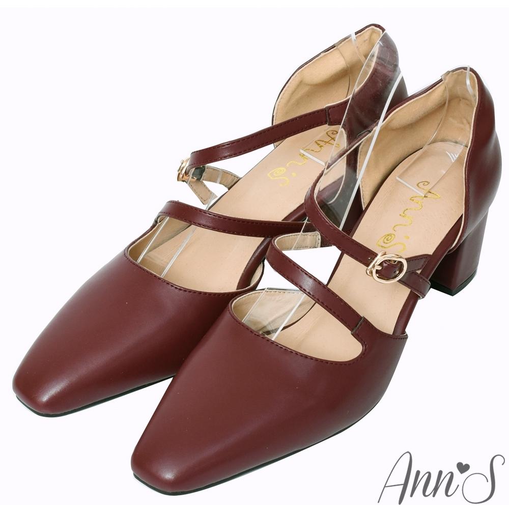 Ann'S修圖效果-顯瘦腳背斜帶沙發後跟粗跟方頭鞋-酒紅
