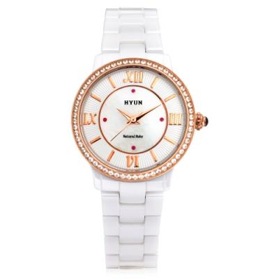 HYUN炫 珍珠母貝羅馬陶瓷錶
