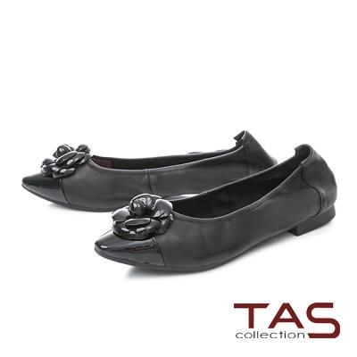 TAS優雅飾花羊皮尖頭娃娃鞋-人氣黑