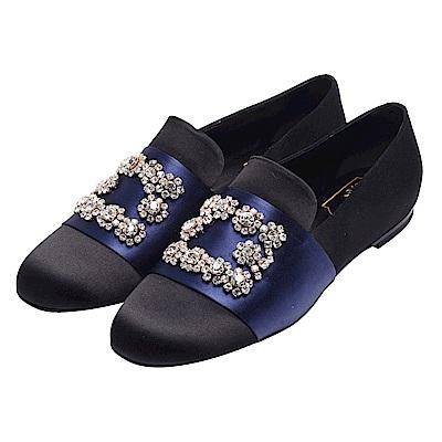 ROGER VIVIER 經典水晶鑲飾緞面休閒鞋(黑X海軍藍)