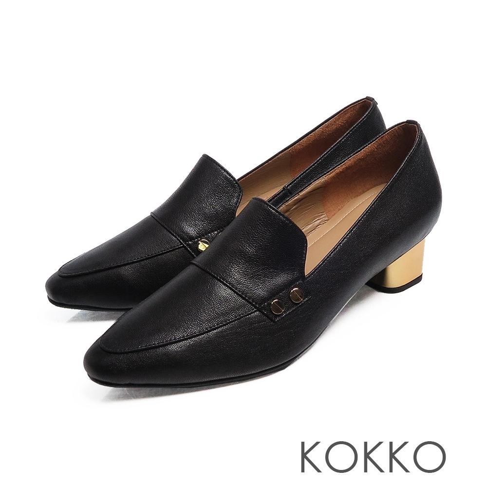 KOKKO小方頭柔軟感羊皮金屬粗跟鞋黑