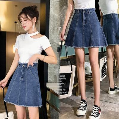 【韓國K.W.】(預購)純真幻想牛仔短裙-1色