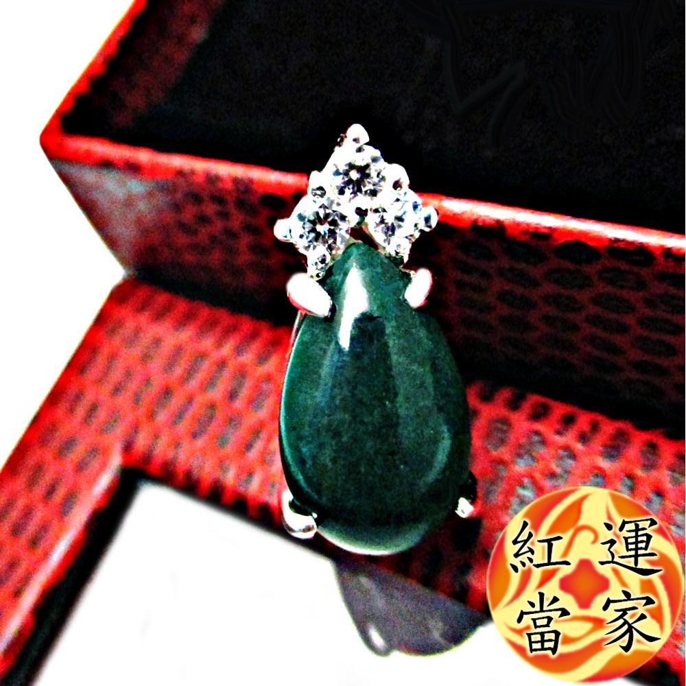 紅運當家 天然優質翡翠綠玉髓 +水鑽 項鍊(主墜長 22mm)
