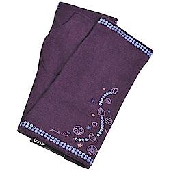 ANNA SUI 繽紛亮片造型品牌字母LOGO刺繡安哥拉羊毛露指手套(紫色系)