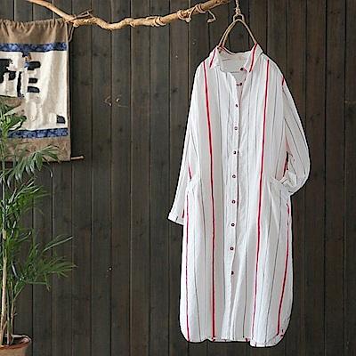 色織條紋中長版亞麻白色襯衫-Y4767-設計所在