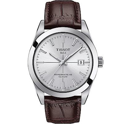 TISSOT 天梭 GENTLEMAN 經典紳士機械錶(T1274071603101)40mm