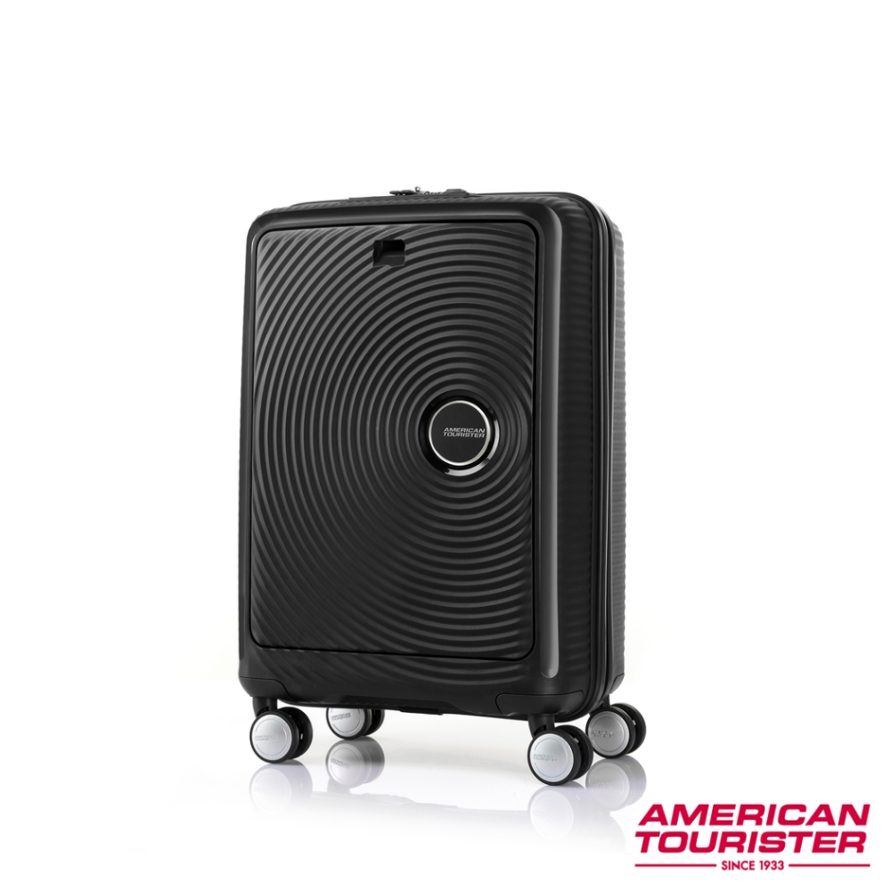AT美國旅行者 20吋Curio前開式立體唱盤硬殼TSA登機箱(型號:A08-09022,黑)