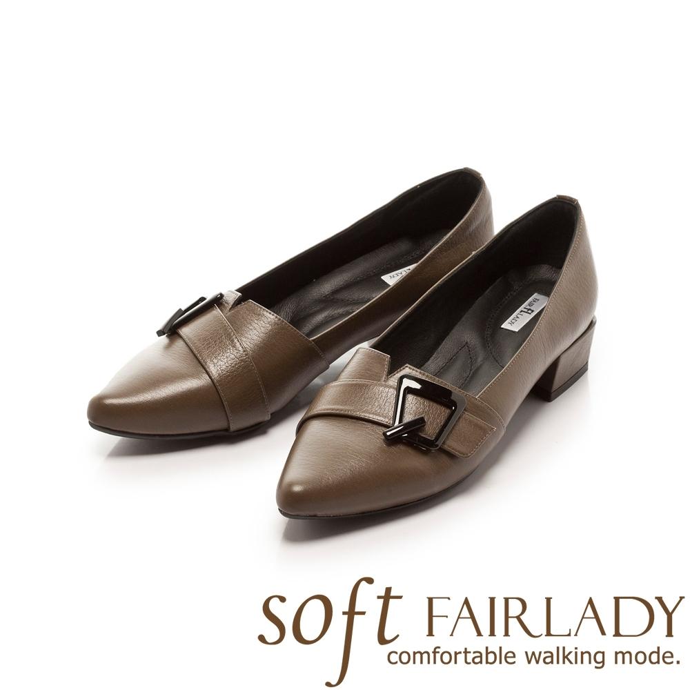 【FAIR LADY】Soft芯太軟 飾釦拼接剪裁尖頭低跟鞋 綠