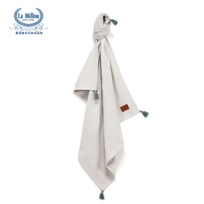 【La Millou】 Tender 100%純棉針織毯(民族風)93x100cm-香草灰-嬰兒毯