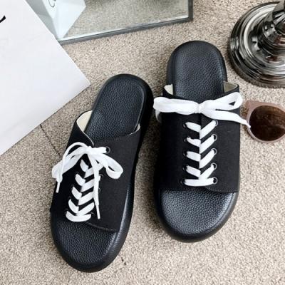 KEITH-WILL時尚鞋館 經典時尚海島假期綁帶厚底涼拖鞋-黑