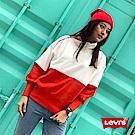 Levis 女款 高領大學T 刷絨毛 紅白色塊
