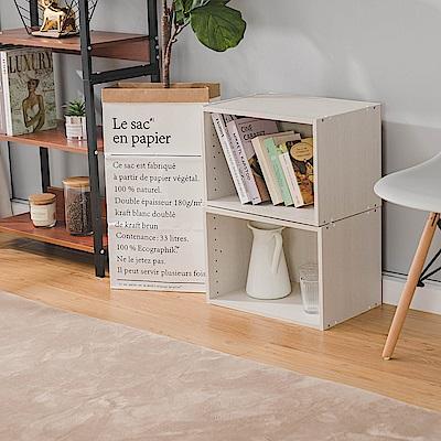 樂嫚妮 DIY 日式 收納櫃/空櫃/書櫃-木紋白色2入組-42X28.2X28.8cm